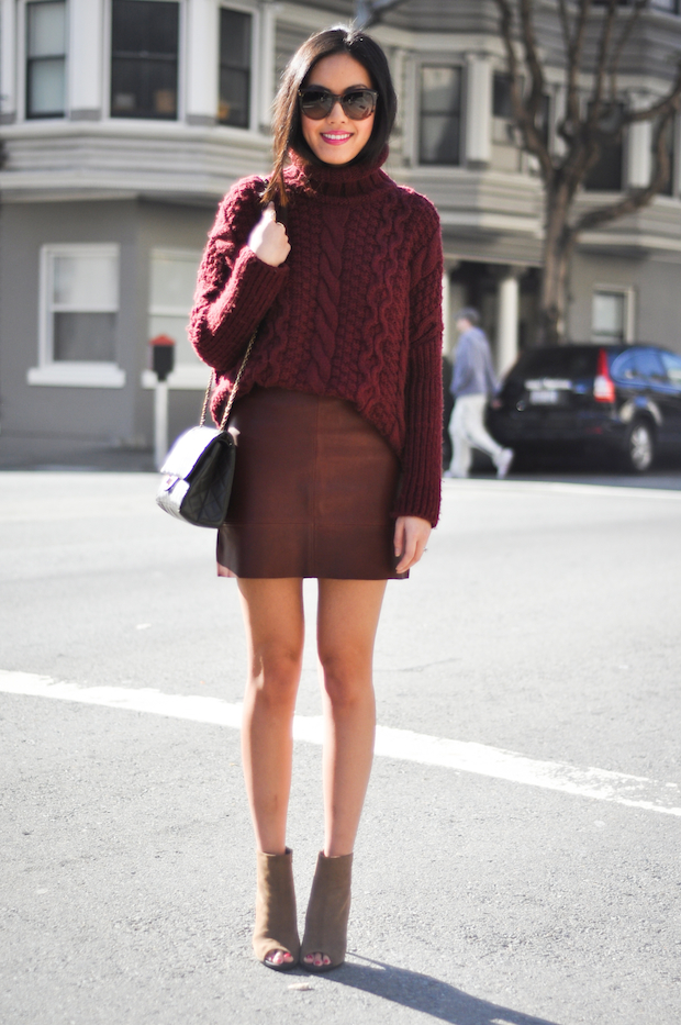 burgundy-leaher-skirt-and-cable-knit-sweater